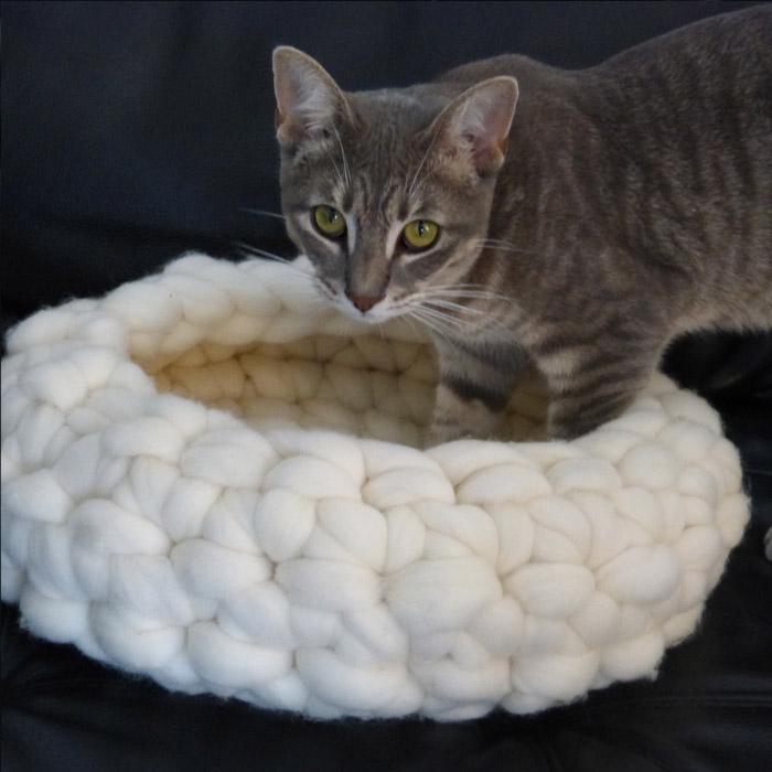 buy sleek fashion styles Panier rond chat ou chien, tricot géant Mérinos